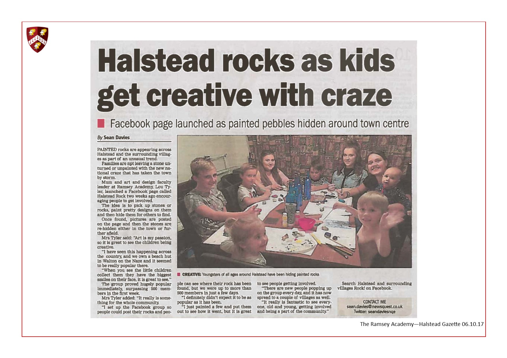 Halstead Rocks As Kids Get Creative With Craze 06.10.17