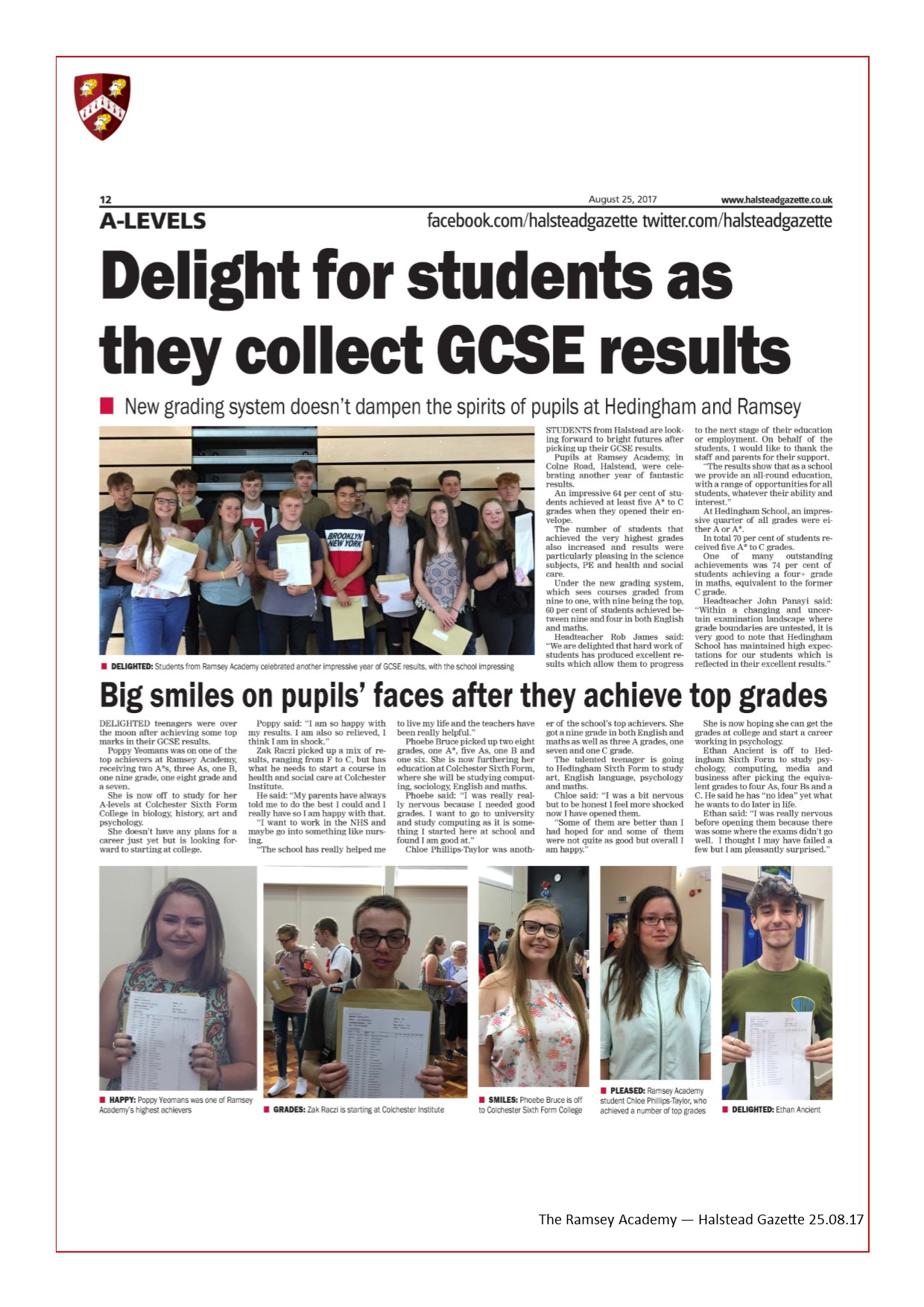 Year 11 GCSE Results Day 25.08.17