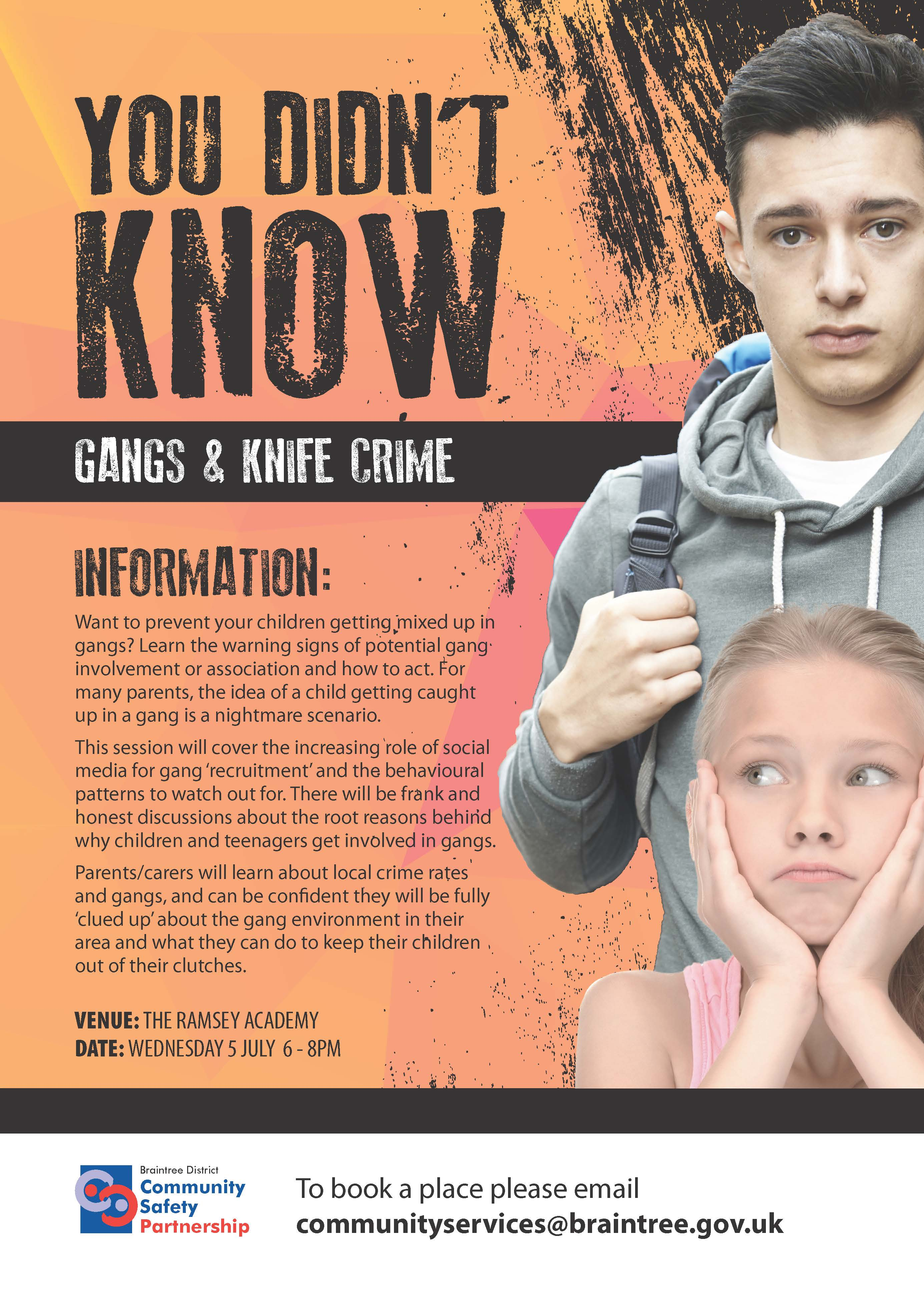 Gangs and Knife Crime Parents Workshop Wednesday 5 July 6pm - 8pm