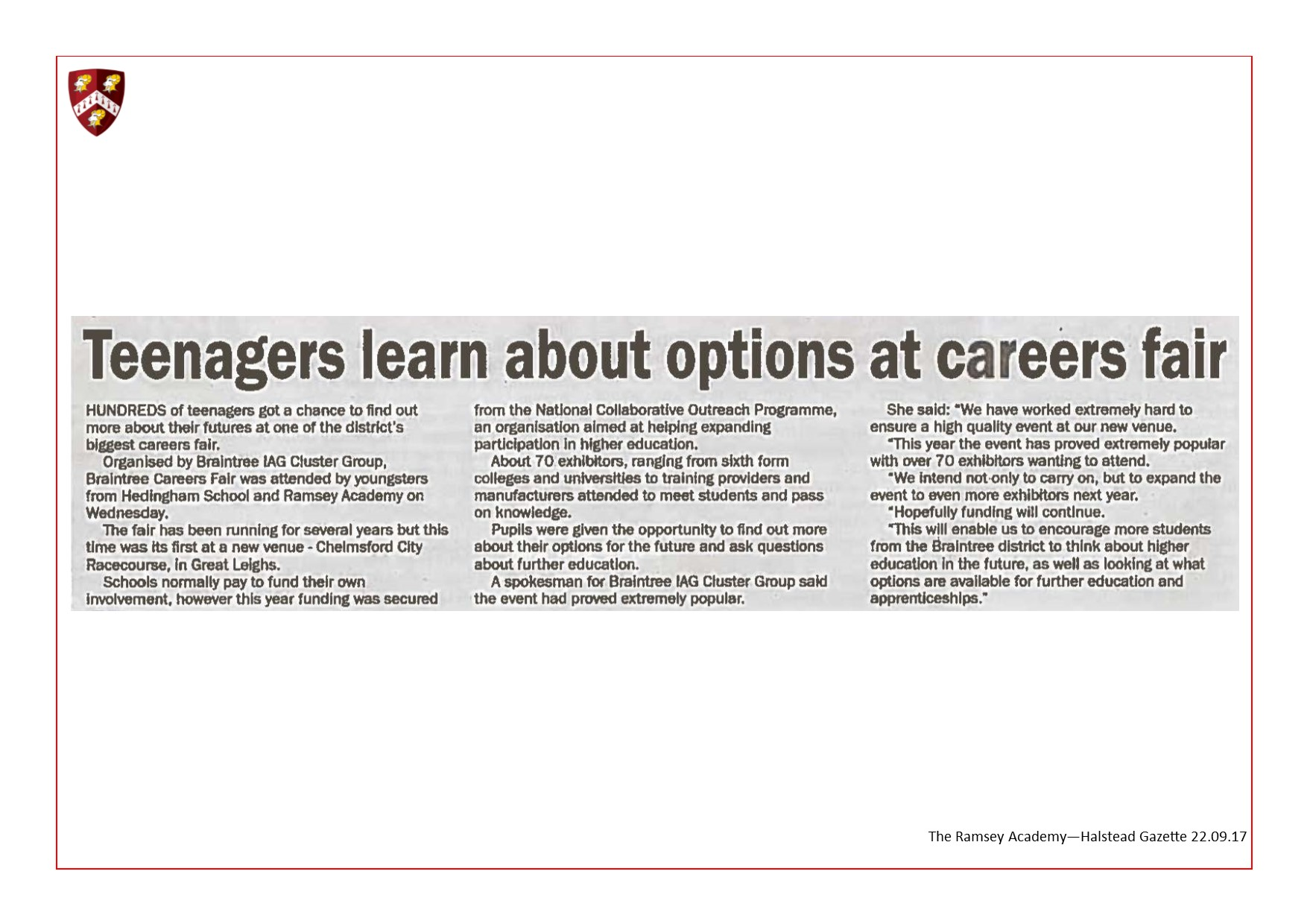 Careers Fair Visit 22.09.17