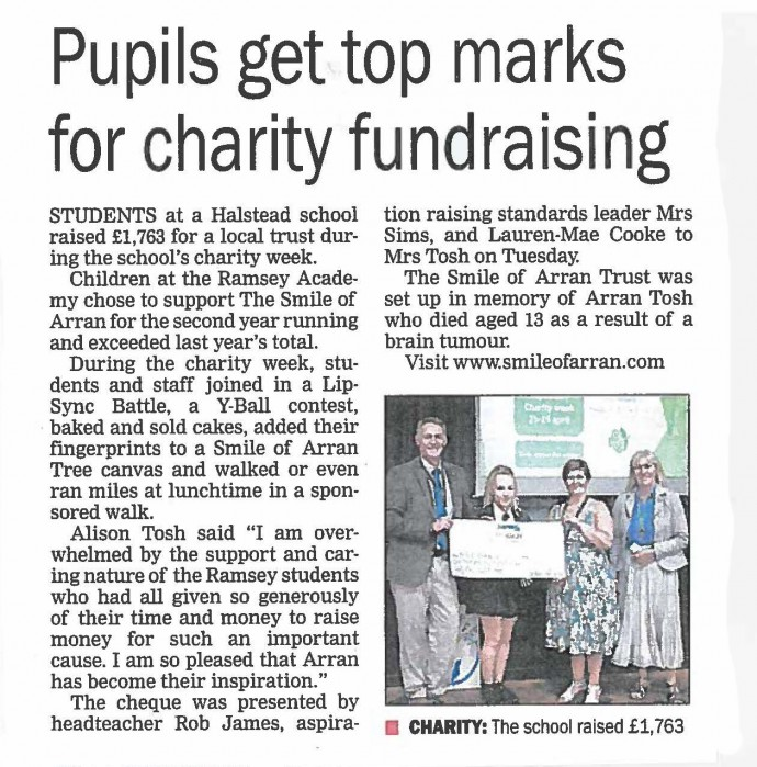 Pupils get top marks for charity fundraising