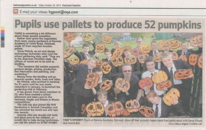 Pupils use Pallets to Produce Pumpkins