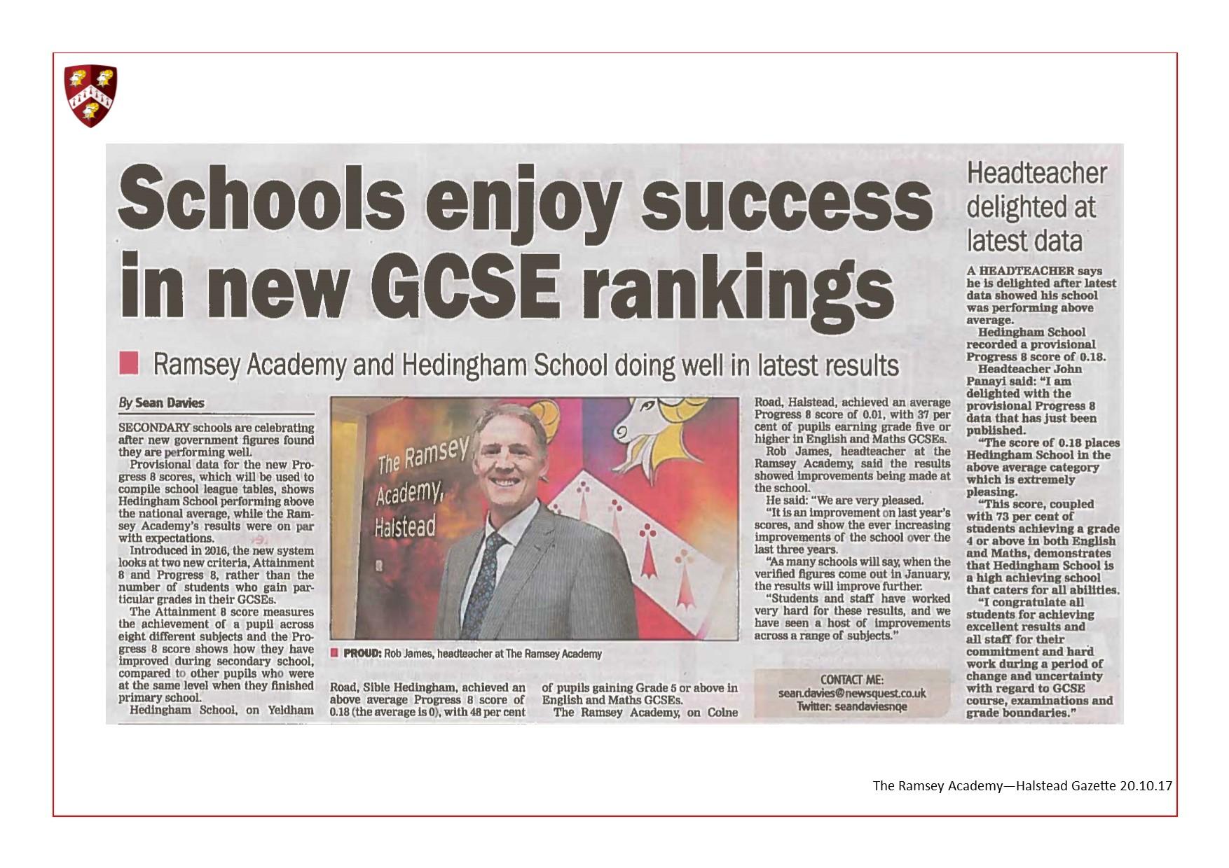 Schools Enjoy Success in New GCSE Rankings 20.10.17