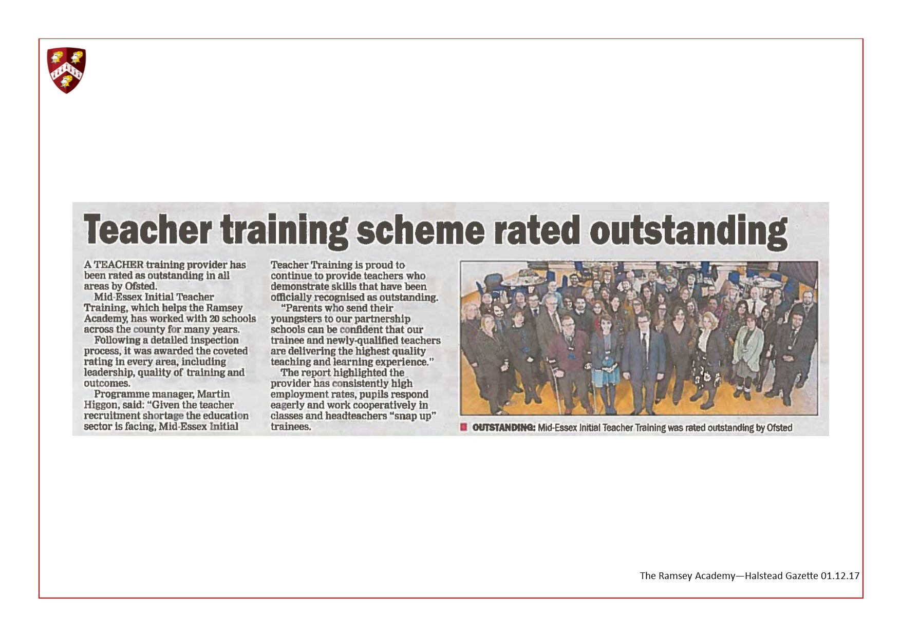 Teacher Training Scheme Rated Outstanding 01.12.17
