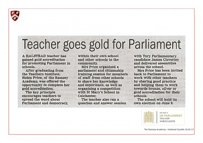 UK Parliament Teacher Ambassador 28.05.17
