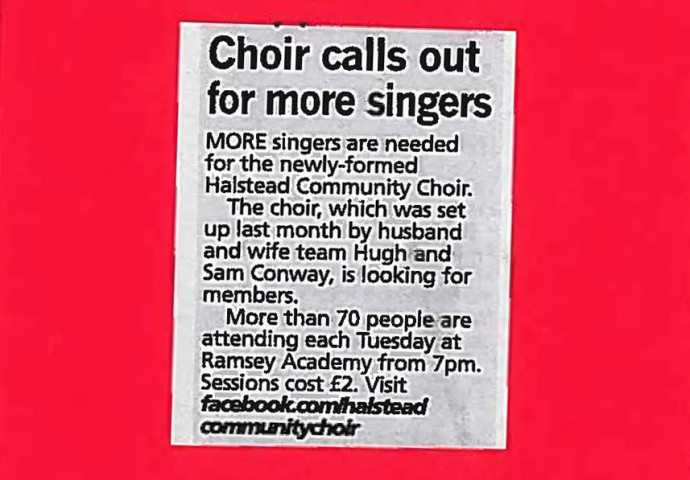 Choir calls out for more singers