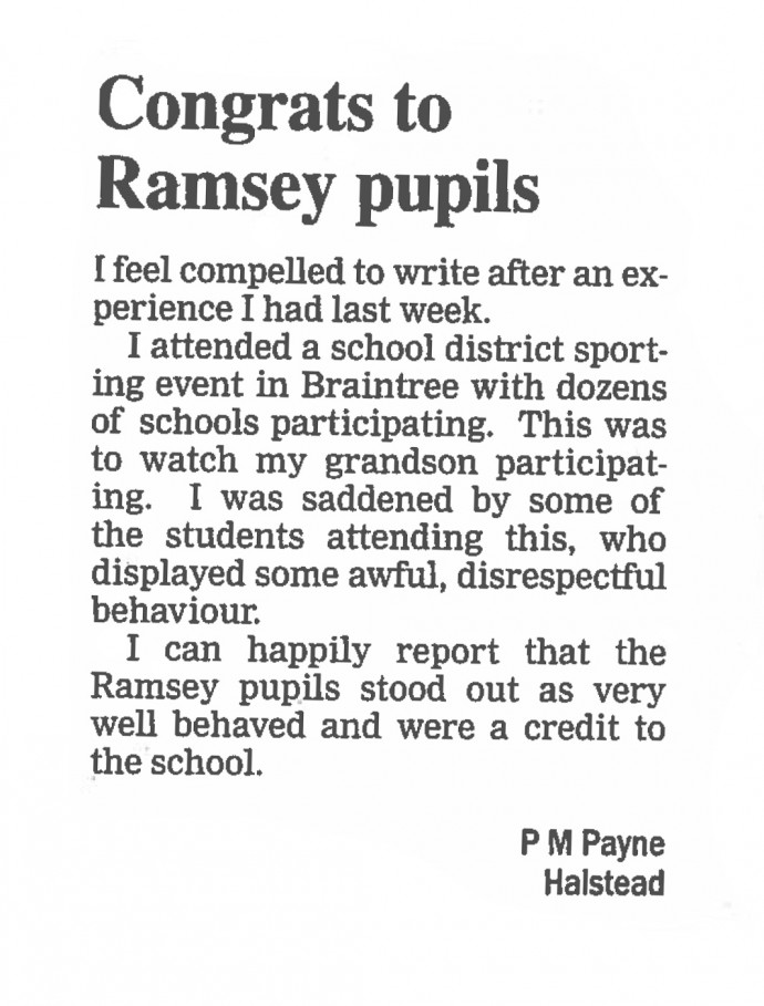 Congrats to Ramsey pupils