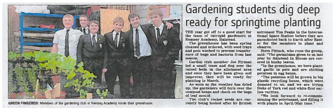 Gardening students dig deep ready for spring time planting