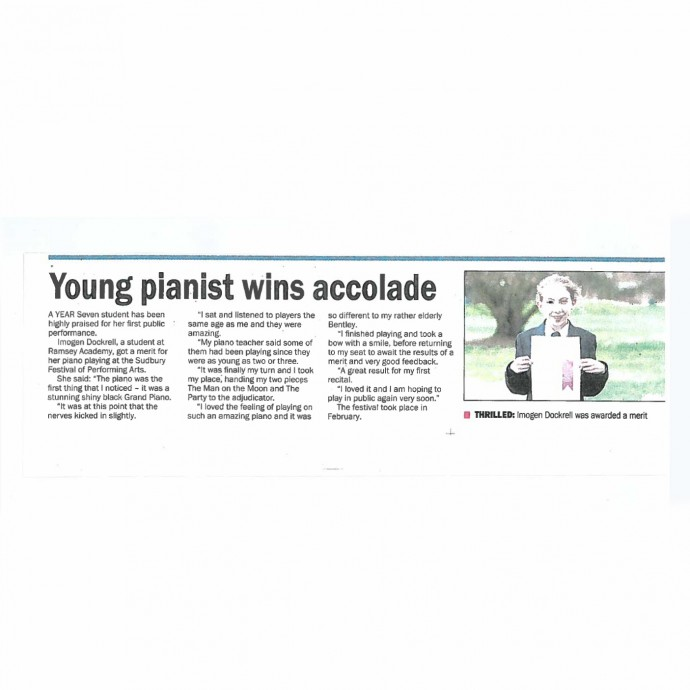 Young pianist wins accolade