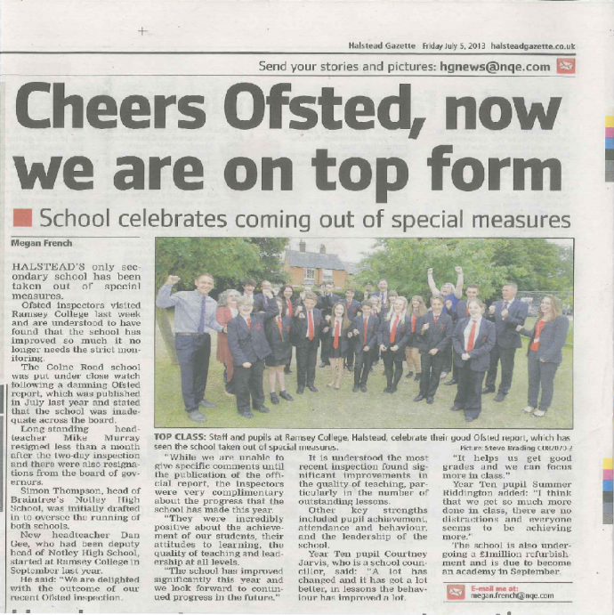 Cheers Ofsted!