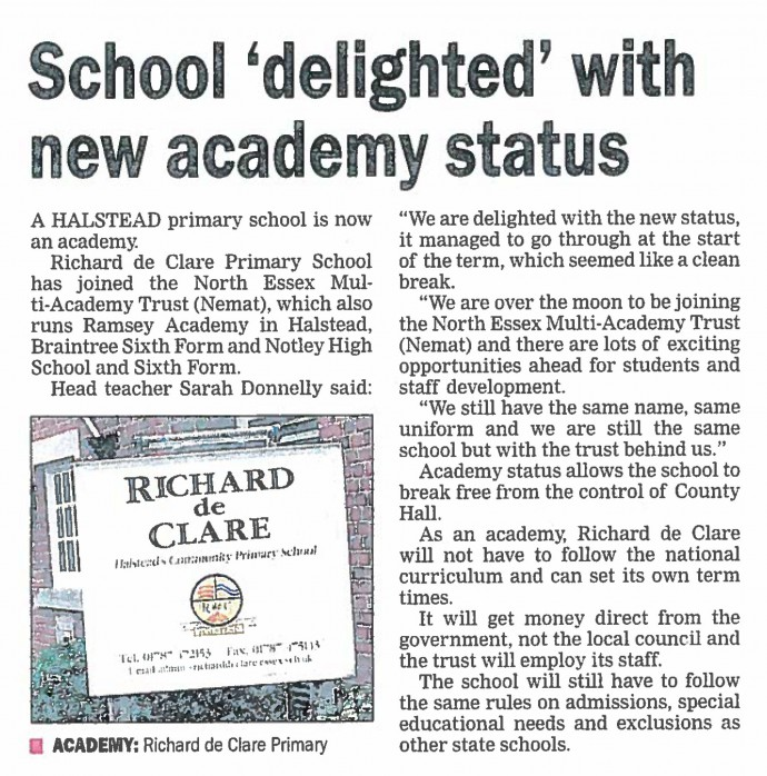 School 'delighted' with new academy status
