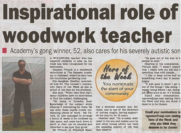 Inspirational role of woodwork teacher