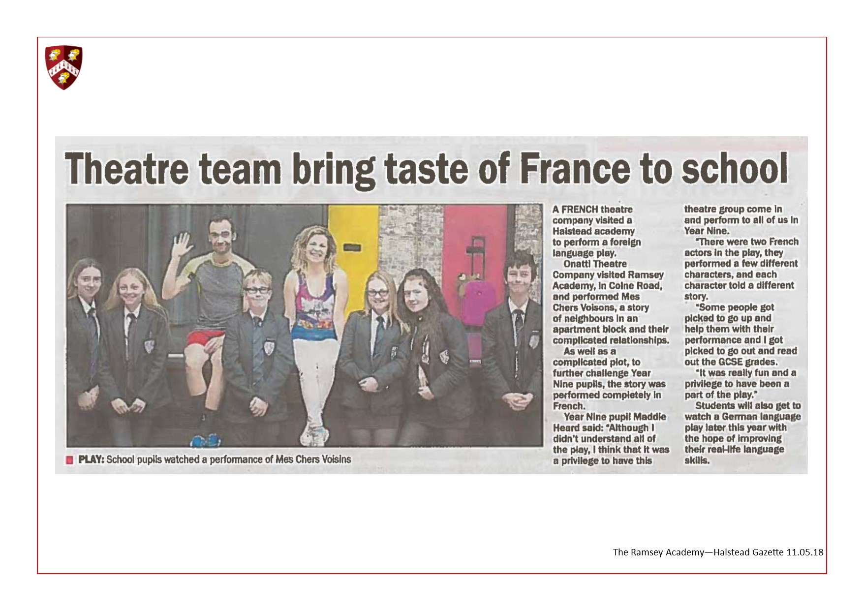 Theatre Team Bring Taste Of France To School 11.05.18