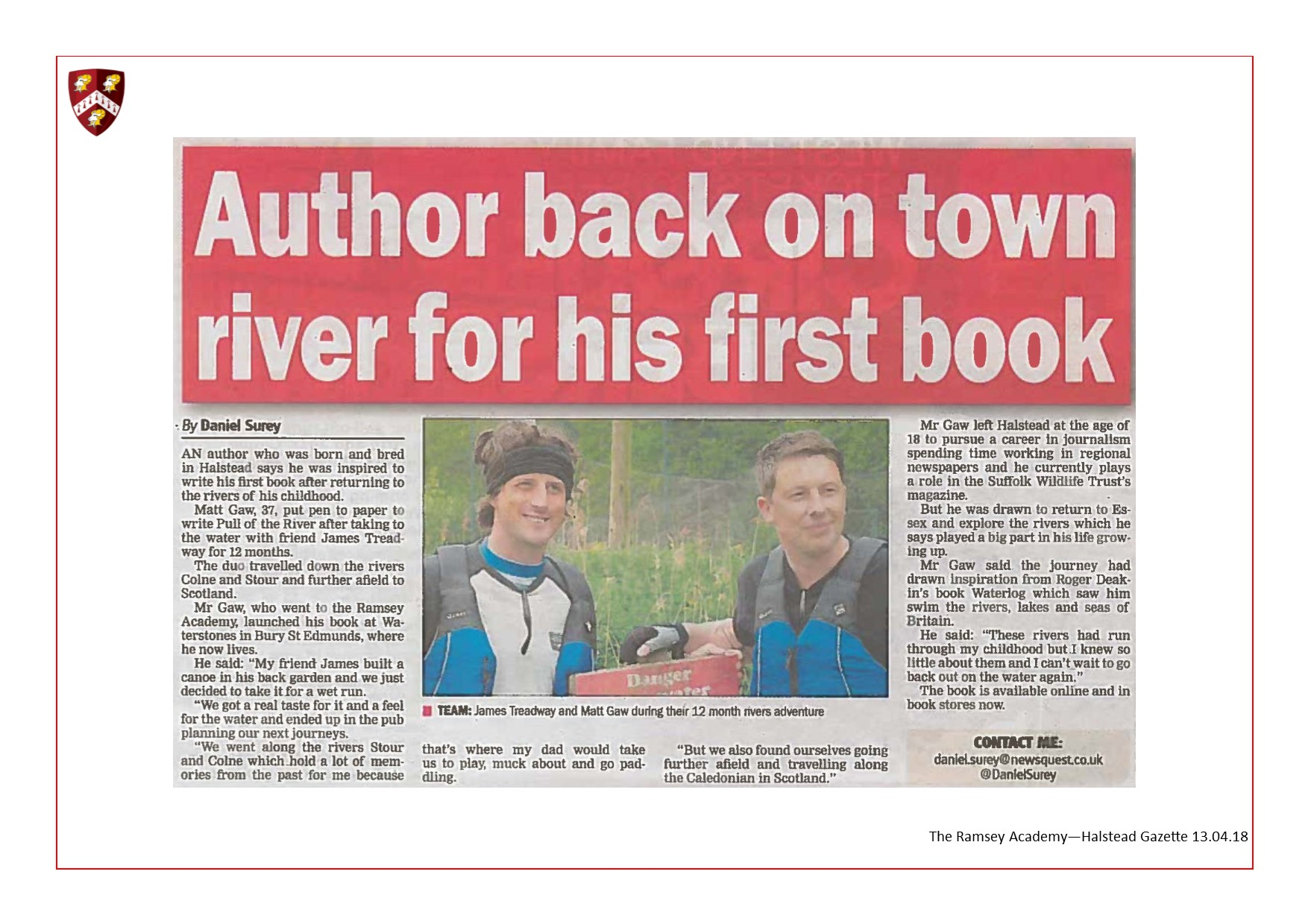 Author Back On Town River For His First Book