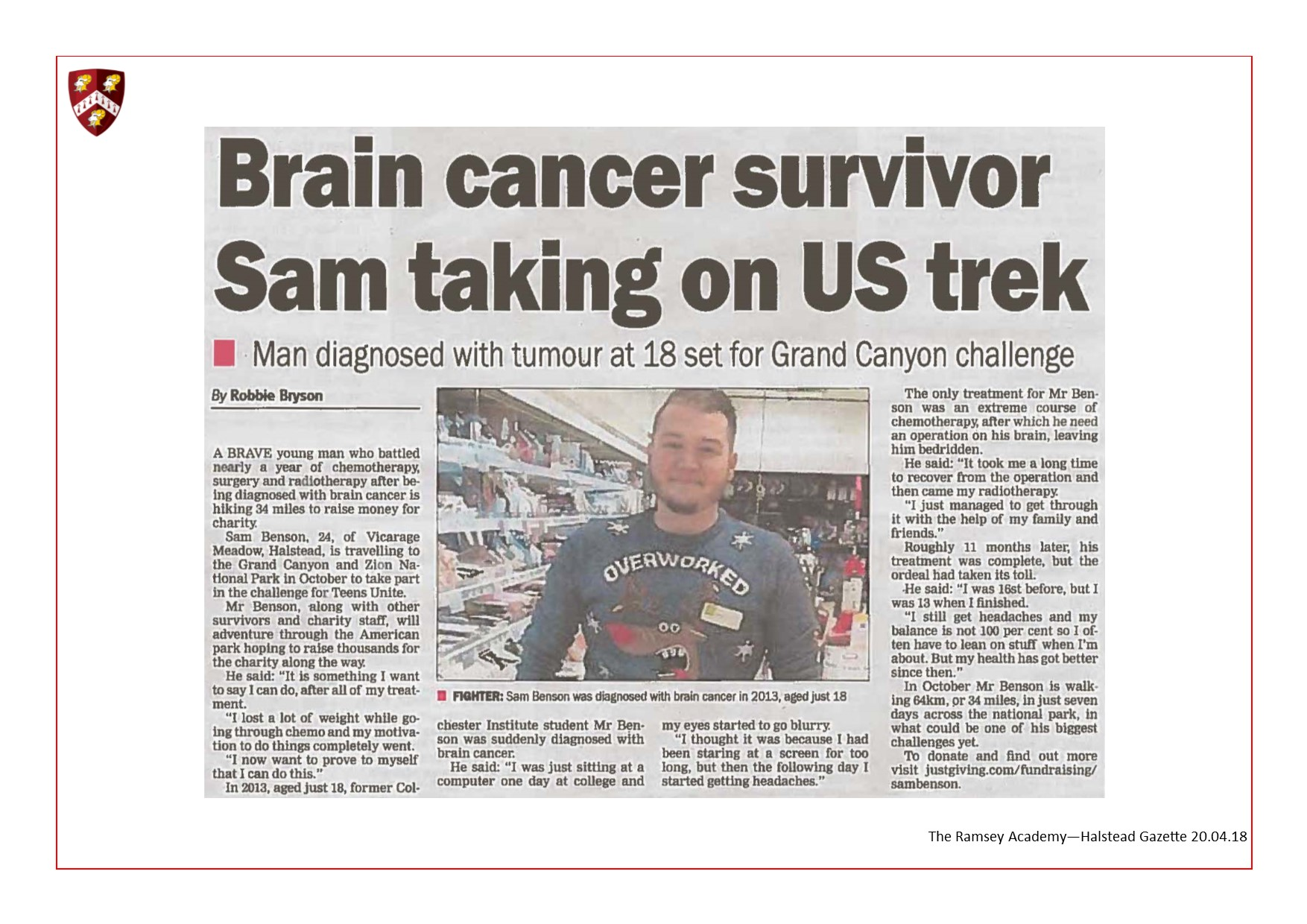 Brain CancerSurvivor Sam Taking On US Trek 20.04.18