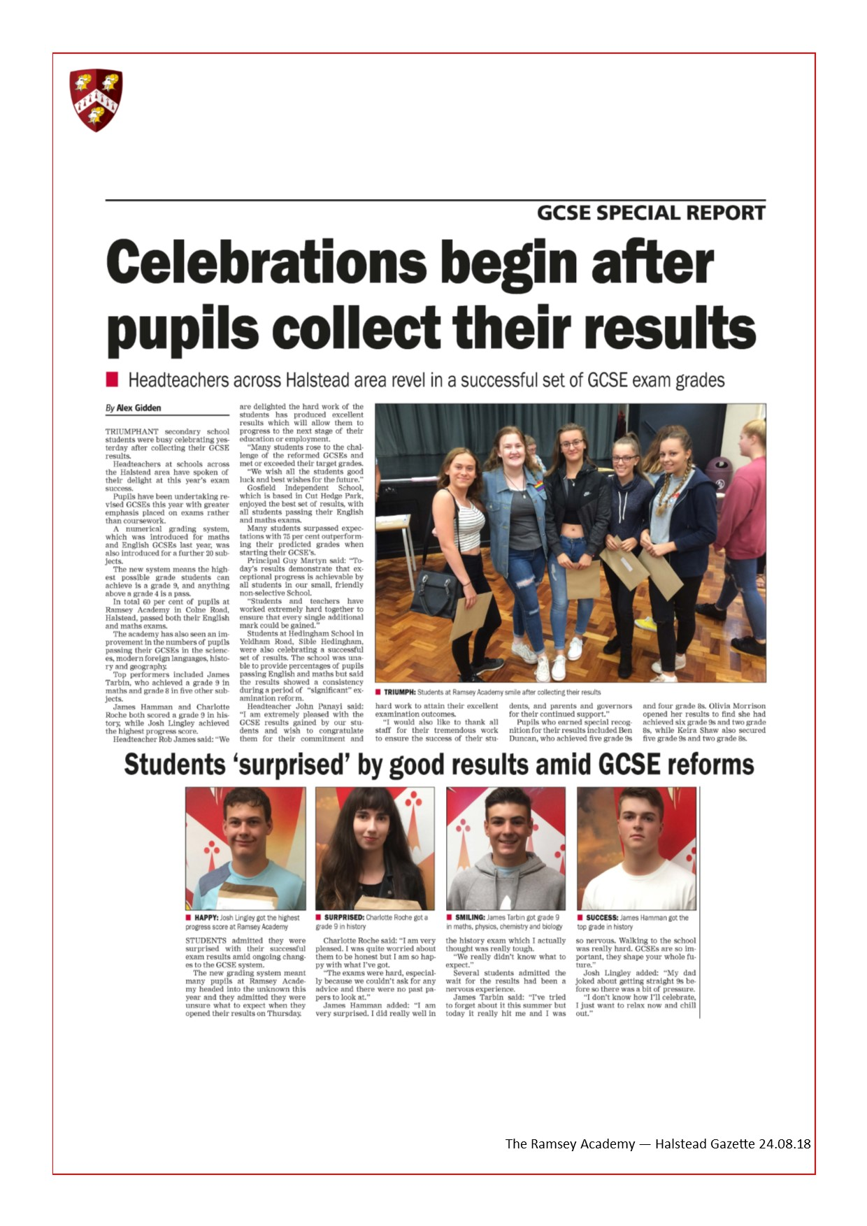Celebrations Begin After Pupils Collect Their Results
