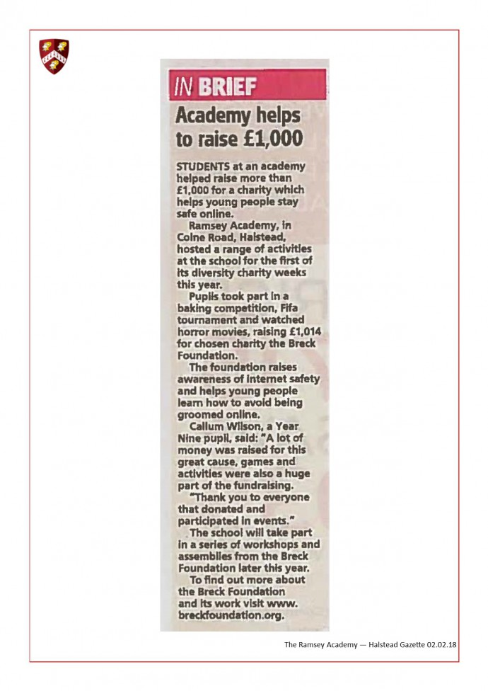 Academy Helps To Raise £1,000 02.02.18