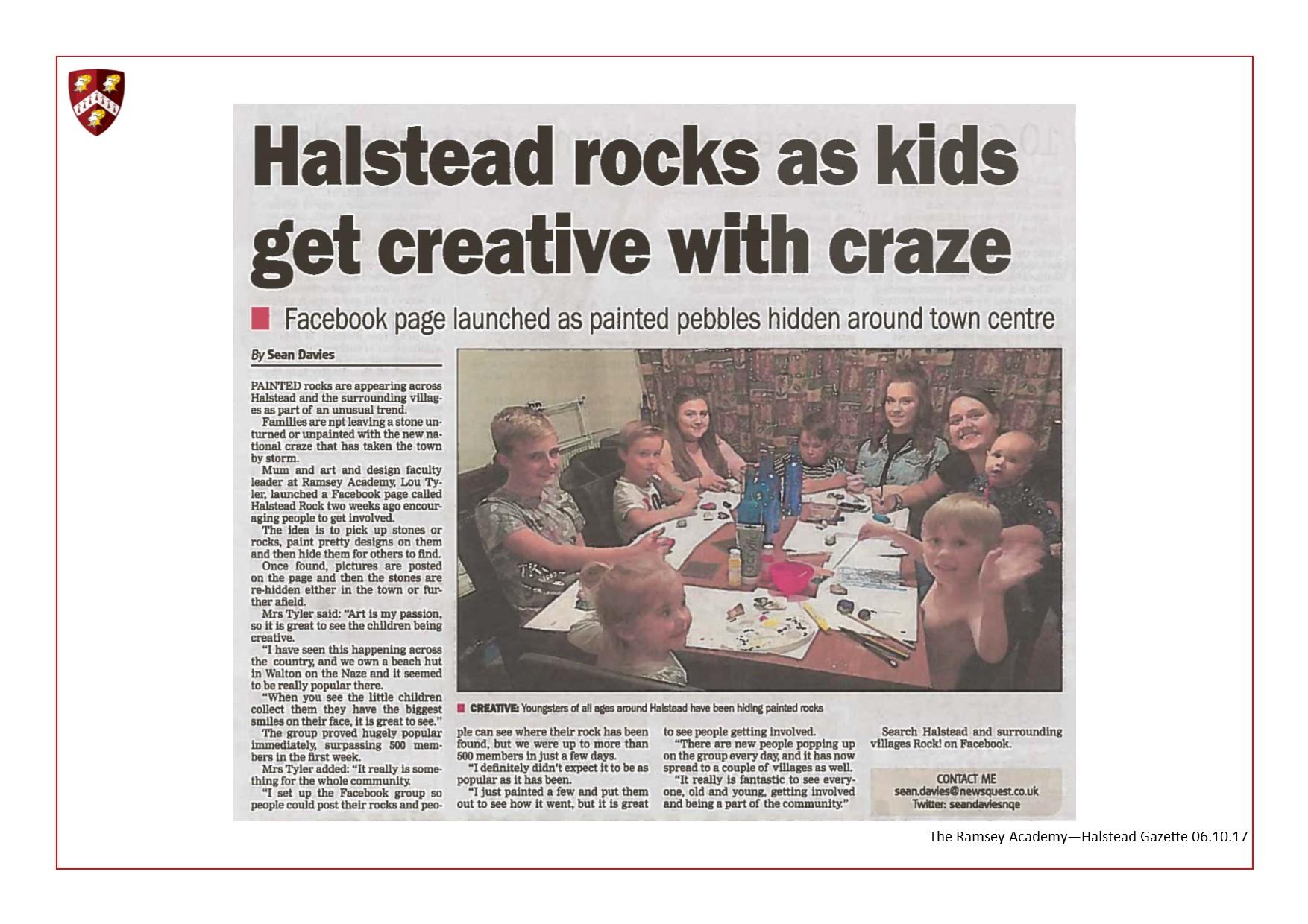 Halstead Rocks As Kids Get Creative With Craze 06.10.17