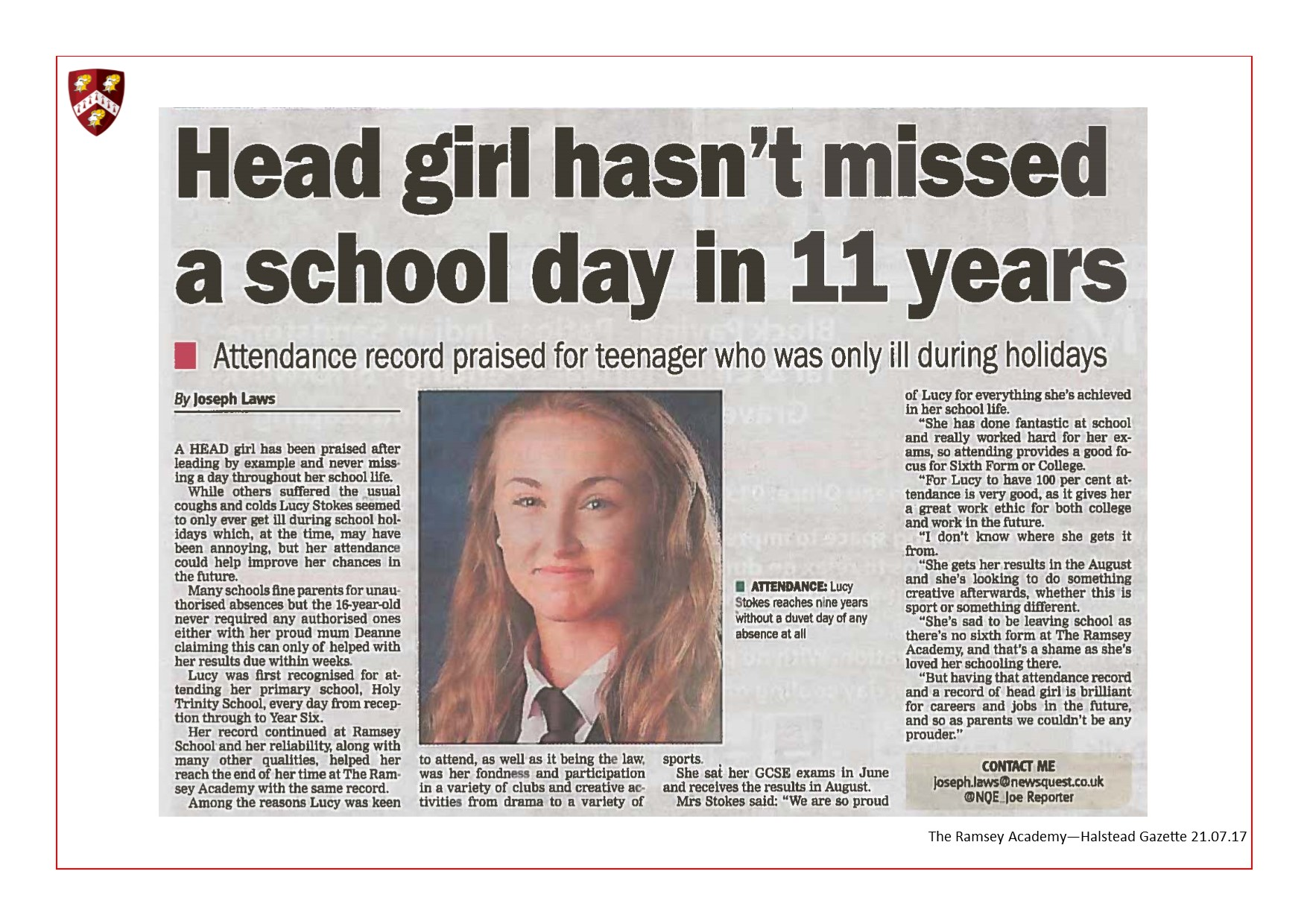 Head Girl Hasn't Missed a School Day in 11 Years 21.07.17