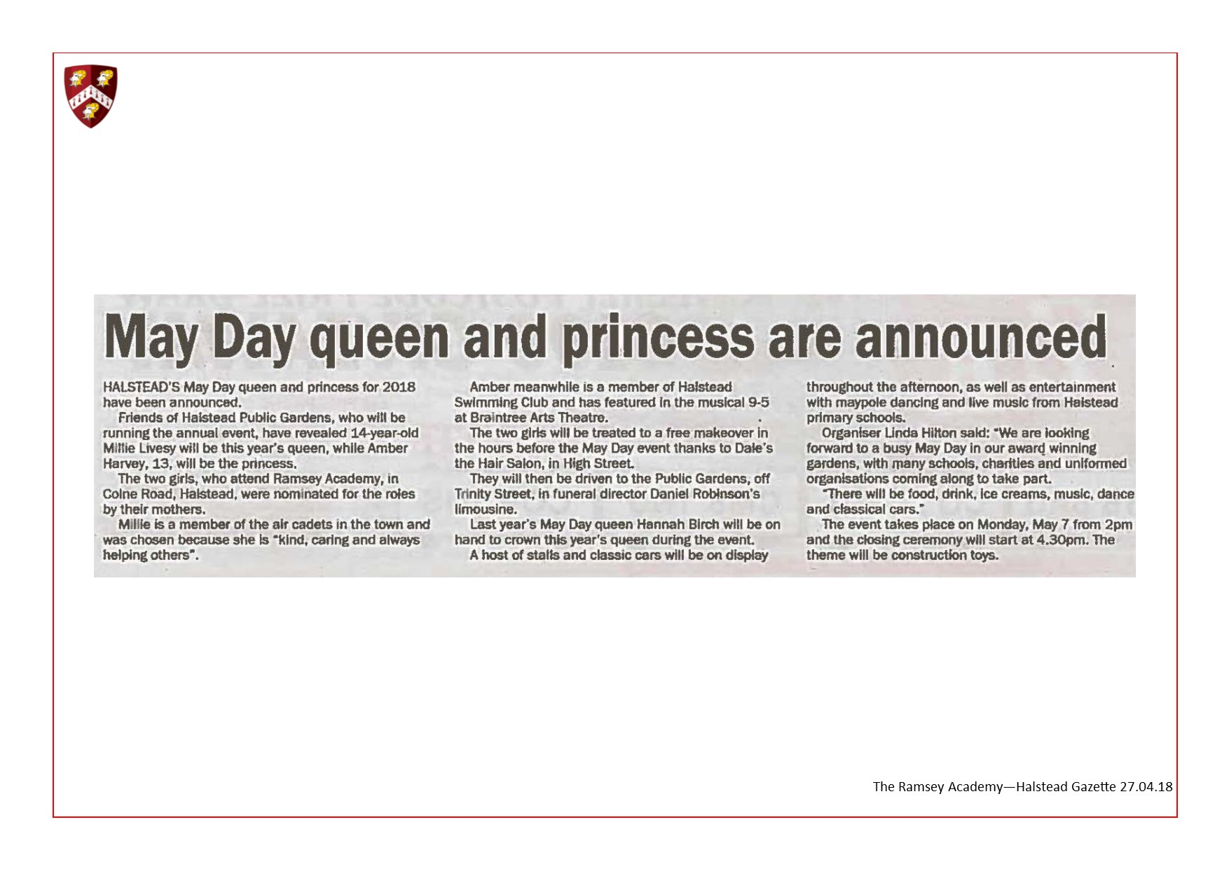 May Day Queen And Princess Are Announced 27.04.18