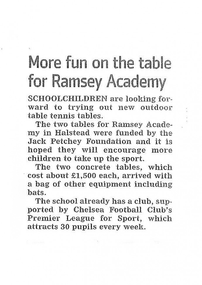 More Fun on the Table for Ramsey Academy