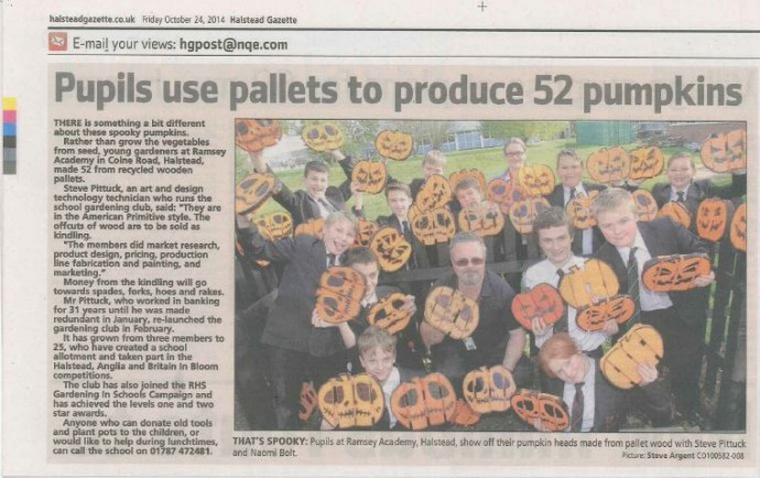 Pupils use Pallets to Produce Pumpkins