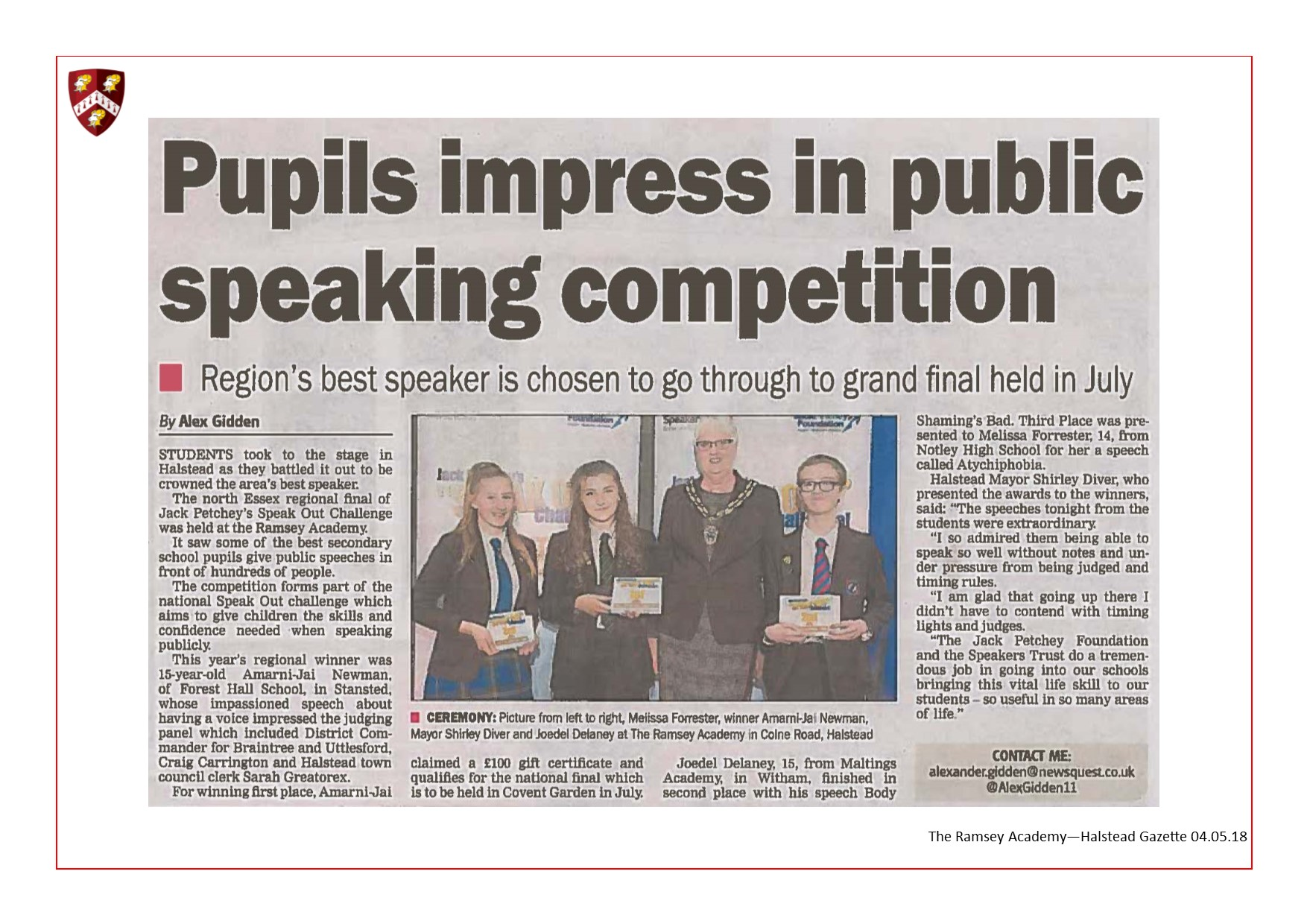 Pupils Impress In Public Speaking Competition 04.05.18