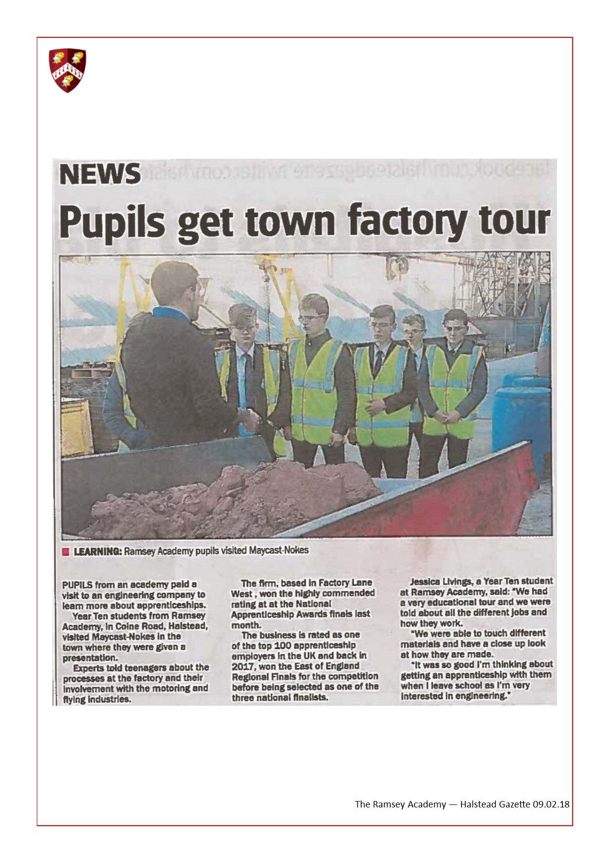 Pupils get Town Factory Tour 09.02.18