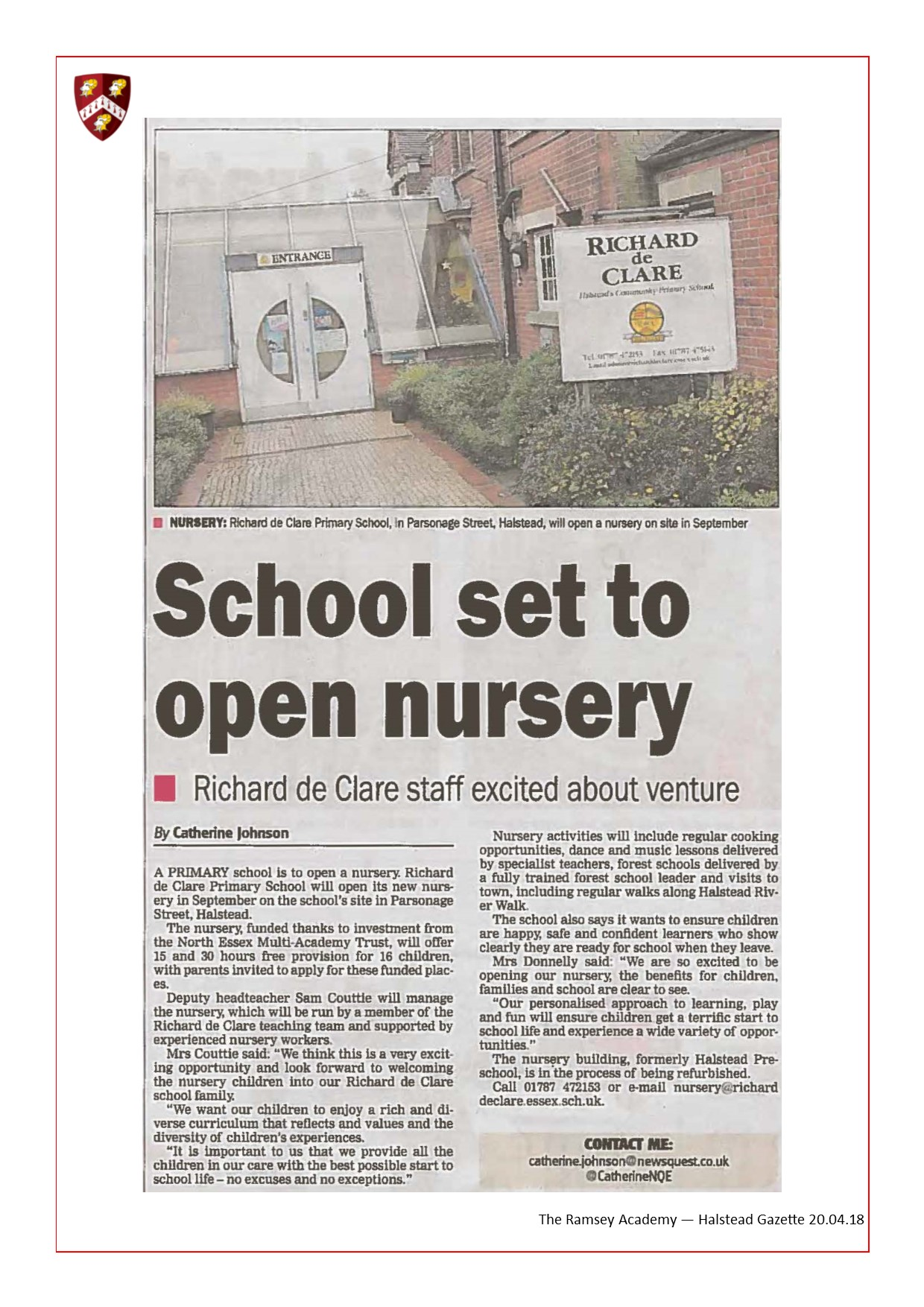 School Set To Open Nursery 20.04.18