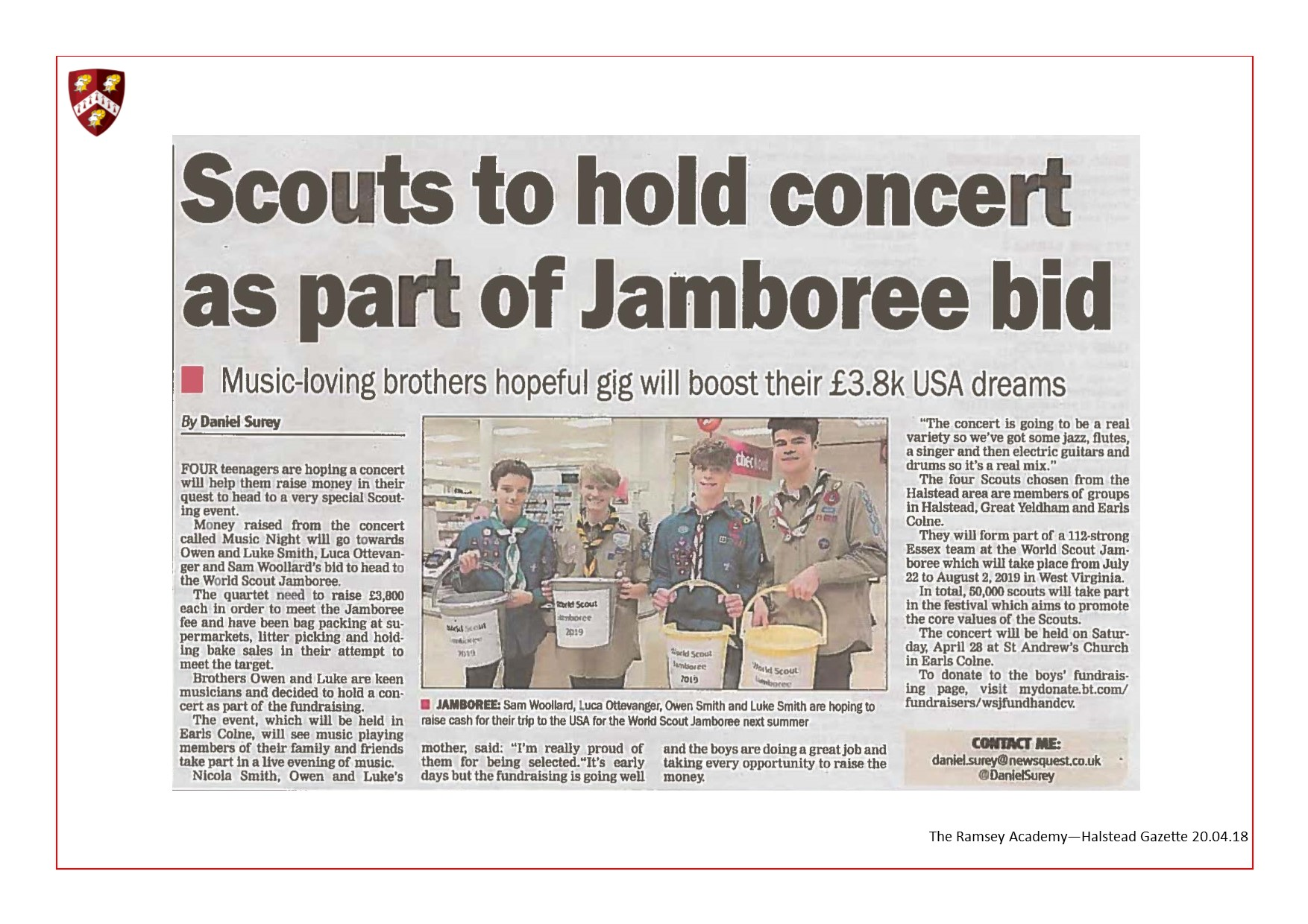 Scouts To Hold Concert As Part Of Jamboree Bid 20.04.18