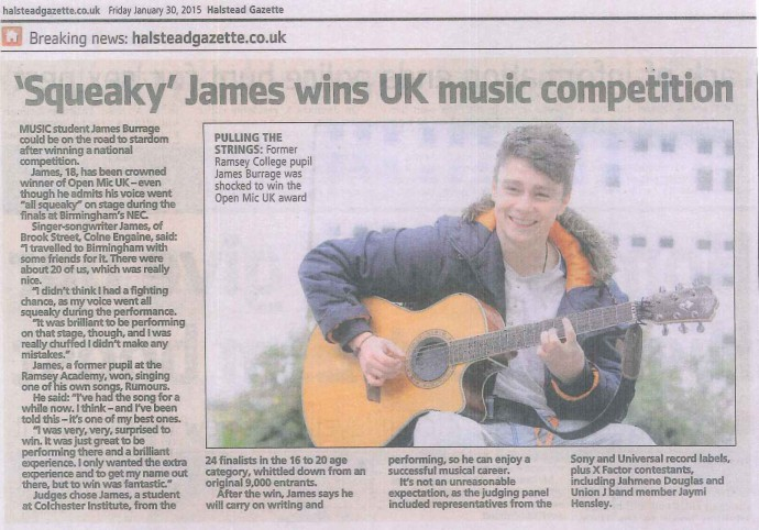 'Squeaky' James wins UK Music Competition