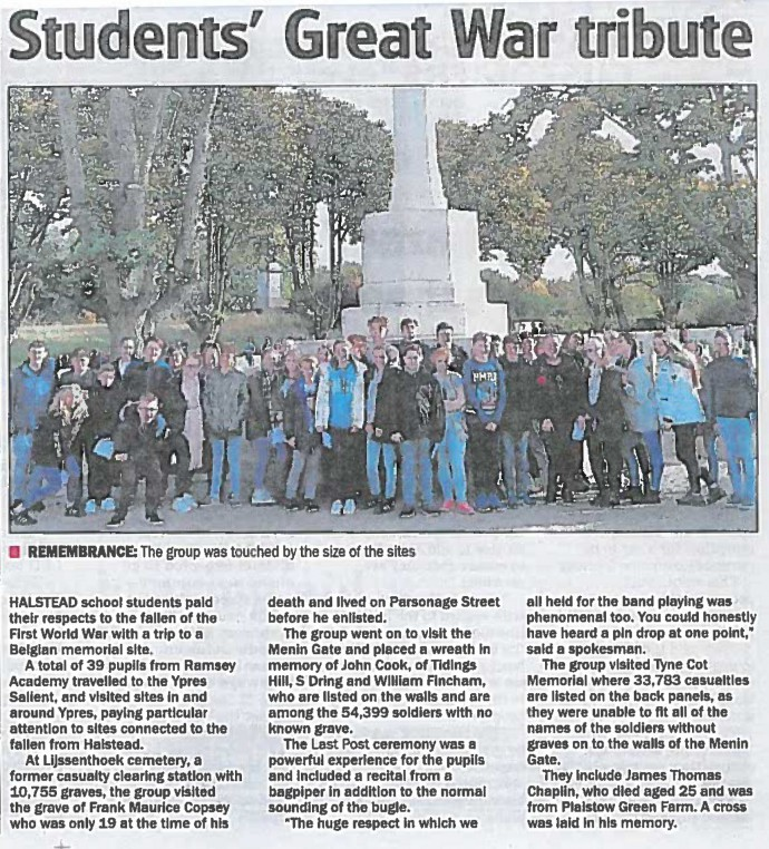 Students' Great War tribute