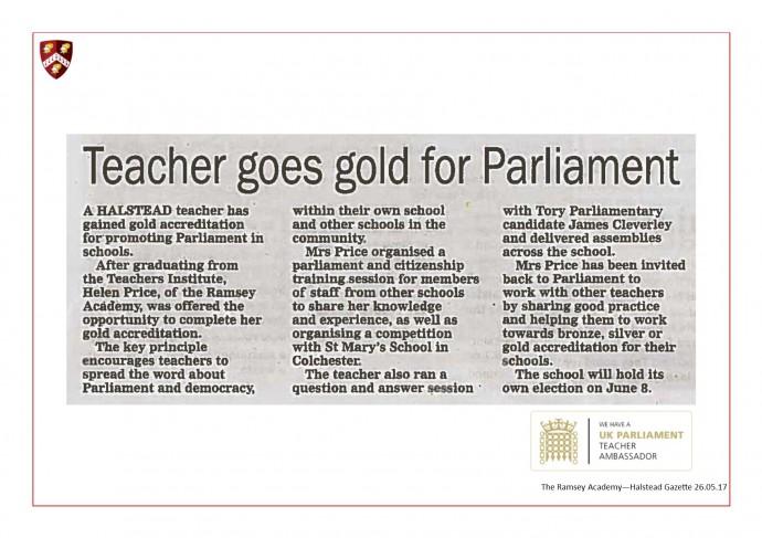 UK Parliament Teacher Ambassador 28.05.17