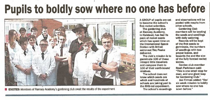 Pupils boldly sow where no one has before