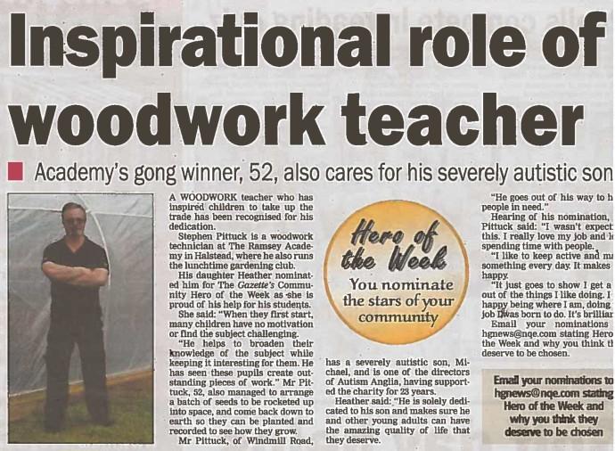 Inspirational role of woodwork teacher